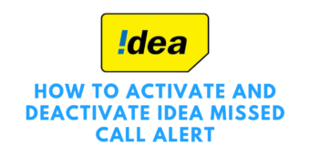 Idea Missed Call Alert Activate and Deactivate