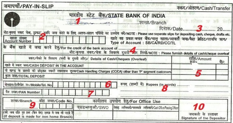 sbi cash deposit form  How to Fill SBI Deposit Slip/Withdrawal Slip - Digital Guide