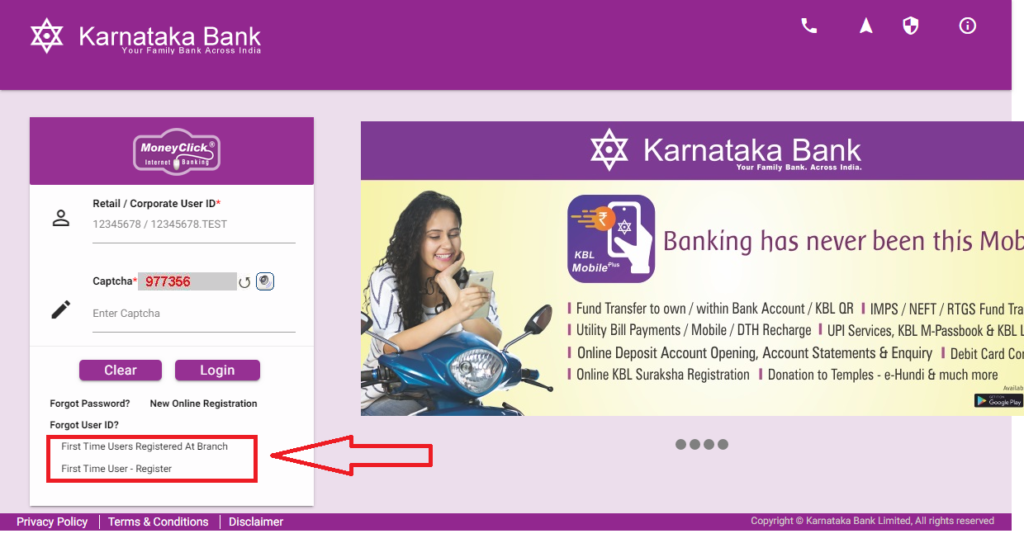 Karnataka bank online banking registration